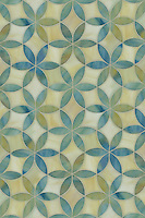 Fiona, a waterjet mosaic shown in Quartz and Alexandrite jewel glass, is part of the Silk Road collection by Sara Baldwin for New Ravenna.