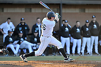 First baseman Charlie Carpenter (36) of the University of South Carolina Upstate Spartans bats in a game against the George Mason Patriots on Friday, February 19, 2016, at Cleveland S. Harley Park in Spartanburg, South Carolina. (Tom Priddy/Four Seam Images)