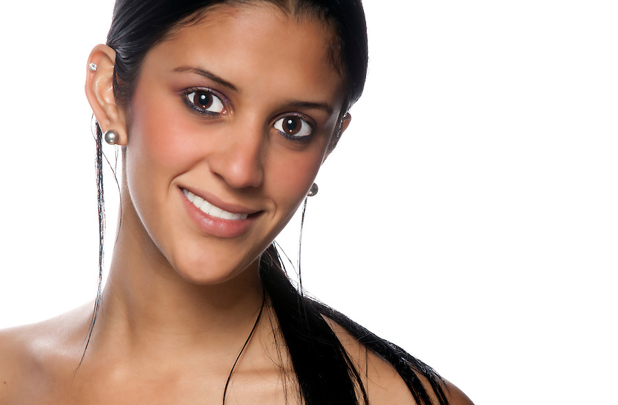 Portrait of beautiful hispanic woman smiling.