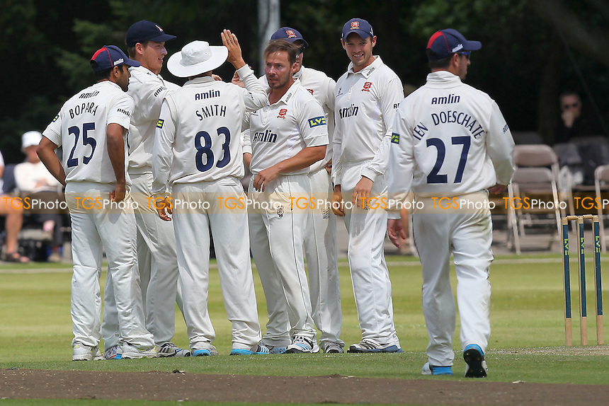 Graham Napier (C) of Essex is congratulated on the wicket of Paul Borrington - Derbyshire CCC vs Essex CCC - LV County Championship Division Two Cricket at Queen's Park, Chesterfield - 09/07/14 - MANDATORY CREDIT: Gavin Ellis/TGSPHOTO - Self billing applies where appropriate - 0845 094 6026 - contact@tgsphoto.co.uk - NO UNPAID USE