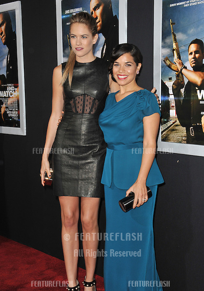 "Cody Horn & America Ferrera (right) at the premiere of their movie ""End of Watch"" at the Regal Cinemas LA Live..September 17, 2012  Los Angeles, CA.Picture: Paul Smith / Featureflash"
