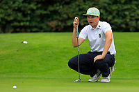 Andrew McCormack (Castletroy) on the 17th green during the AIG Barton Shield Munster Final 2018 at Thurles Golf Club, Thurles, Co. Tipperary on Sunday 19th August 2018.<br /> Picture:  Thos Caffrey / www.golffile.ie<br /> <br /> All photo usage must carry mandatory copyright credit (&copy; Golffile | Thos Caffrey)