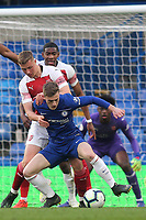 Charlie Brown of Chelsea shields the ball from Arsenal's Danny Ballard during Chelsea Under-23 vs Arsenal Under-23, Premier League 2 Football at Stamford Bridge on 15th April 2019