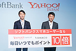 (L to R) Keigo Sugano, Product & Marketing Unit, MOBILE Business Promotion Division Head and MD Division Head of SoftBank and Manabu Miyasaka president and chief executive officer of Yahoo Japan Corp, pose for cameras during a news conference to announce the Japanese telecommunications giant SoftBank's 2017 spring promotions on January 16 2017, Tokyo, Japan. SoftBank launched a new Super Student mobile plan for young users, and also announced discounts available to their customers through retail partners such as FamilyMart, Sunkus, Baskin Robbins, and Yahoo Japan Shopping. Canadian pop star Justin Bieber, who features in SoftBank's new promotion campaign sent a video message which was screened during the conference. In Japan spring is the season where students start a new school year and graduates begin work. (Photo by Rodrigo Reyes Marin/AFLO)