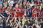 Olympique Lyonnais' team celebrate the victory in the UEFA Women's Champions League 2015/2016 Final match.May 26,2016. (ALTERPHOTOS/Acero)