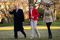 United States President Donald J. Trump, first lady Melania Trump, and their son Barron Trump, arrive on the South Lawn of the White House, on March 10, 2019 in Washington, DC. Trump spent the weekend at his Mar-a-Lago club in Palm Bech, Florida.<br /> CAP/MPI/RS<br /> &copy;RS/MPI/Capital Pictures