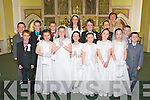 The pupils of Coolard NS, Listowel, who made their First Holy Communion on Saturday in St Teresas Church, Ballydonoghue. Front l-r: Oliver Kelly, Ciara Fitzgerald, Ashling Scully, Louise Leahy, Orla Horgan, Orlaith Mahony, Sinead Relihan, Liam Bambury. Back l-r: Evan Curtin, Shane Madden, Paddy Foley, Ellie Cunnane, Jack O'Sullivan, Vincent O'Doherty and Adam Hayes with teacher Mrs Kissane.