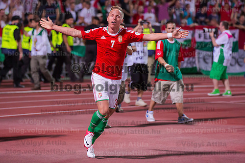 Hungary's Balazs Dzsudzsak celebrates his goal during the World Cup 2014 qualifying soccer match Hungary playing against Netherlands in Budapest, Hungary on September 11, 2012. ATTILA VOLGYI