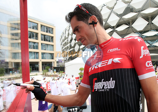 Alberto Contador (ESP) Trek-Segafredo at sign on before the start of Stage 3 Al Maryah Island Stage of the 2017 Abu Dhabi Tour, starting at Al Ain and running 186km to the mountain top finish at Jebel Hafeet, Abu Dhabi. 25th February 2017<br /> Picture: ANSA/Matteo Bazzi | Newsfile<br /> <br /> <br /> All photos usage must carry mandatory copyright credit (&copy; Newsfile | ANSA)