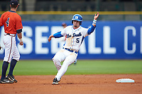 Max Miller (5) of the Duke Blue Devils rounds second base against the Virginia Cavaliers in Game Seven of the 2017 ACC Baseball Championship at Louisville Slugger Field on May 25, 2017 in Louisville, Kentucky. The Blue Devils defeated the Cavaliers 4-3. (Brian Westerholt/Four Seam Images)