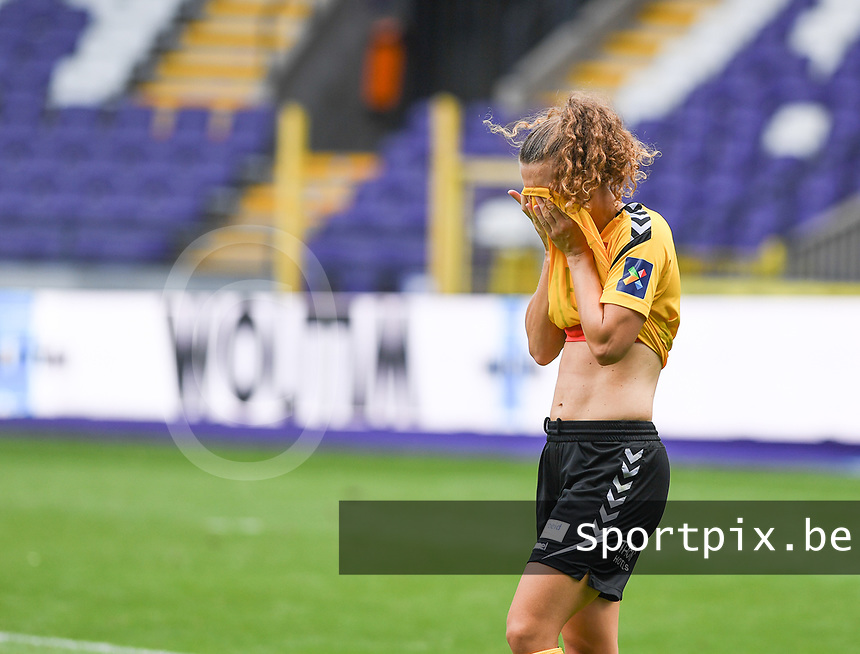 20190810 - ANDERLECHT, BELGIUM : LSK's Synne Skinnes Hansen pictured looking dejected and disappointed after losing the female soccer game between the Belgian RSCA Ladies – Royal Sporting Club Anderlecht Dames  and the Norwegian LSK Kvinner Fotballklubb ladies , the second game for both teams in the Uefa Womens Champions League Qualifying round in group 8 , saturday 10 th August 2019 at the Lotto Park Stadium in Anderlecht  , Belgium  .  PHOTO SPORTPIX.BE for NTB NO | DAVID CATRY