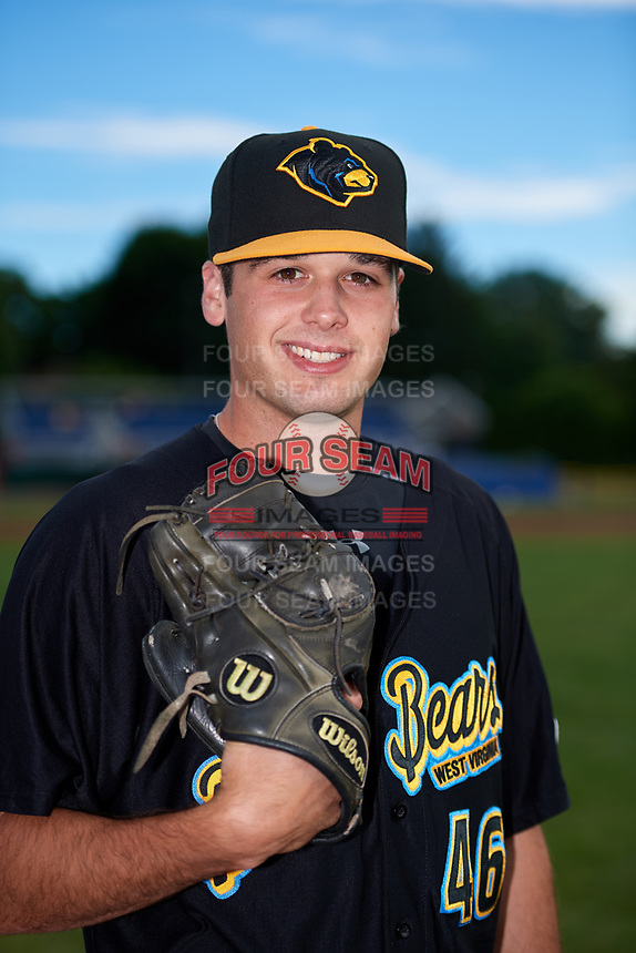 West Virginia Black Bears pitcher Cam Alldred (46) poses for a photo before a game against the Batavia Muckdogs on June 19, 2018 at Dwyer Stadium in Batavia, New York.  West Virginia defeated Batavia 7-6.  (Mike Janes/Four Seam Images)