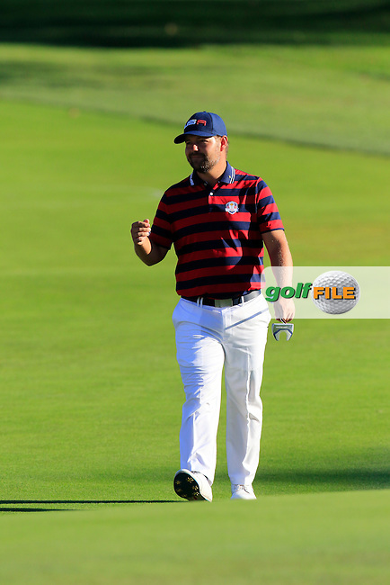 Ryan Moore US Team at the 15th green during Saturday Afternoon Fourball Matches of the 41st Ryder Cup, held at Hazeltine National Golf Club, Chaska, Minnesota, USA. 1st October 2016.<br /> Picture: Eoin Clarke | Golffile<br /> <br /> <br /> All photos usage must carry mandatory copyright credit (&copy; Golffile | Eoin Clarke)