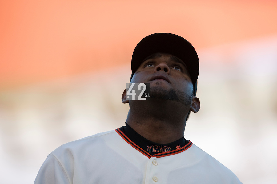 17 April 2009: San Francisco Giants' third base Pablo Sandoval is seen watching the sky prior to the San Francisco Giants' 2-0 win against the Arizona Diamondbacks at AT&T Park in San Francisco, CA.