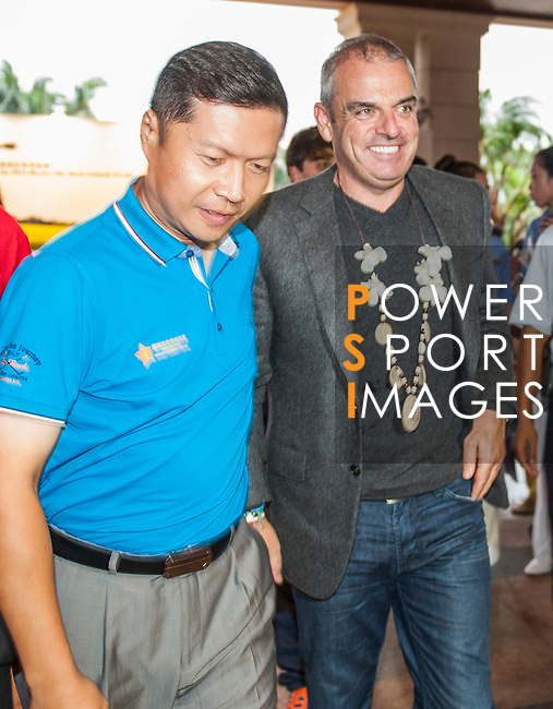 Paul McGinley arrives at the Mission Hills Celebrity Pro-Am on 23 October 2014, in Haikou, China. Photo by Xaume Olleros / Power Sport Images