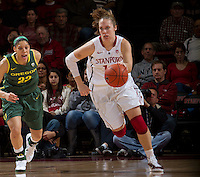 STANFORD, CA - February 26, 2011:  Kayla Pedersen breaks the press during Stanford's 99-60 victory over Oregon at Stanford, California on February 26, 2011.