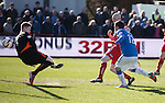 Nicky Clark heads the ball down and past Brechin keeper Graeme Smith for the second goal to Rangers