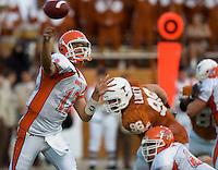 30 September 2006: Sam Houston State quarterback Brett Hicks (#12) unleashes a pass during the Bearkats 56-3 loss to the University of Texas Longhorns at Darrell K Royal Memorial Stadium in Austin, TX.