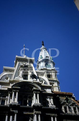 Philadelphia, USA. Historic City Hall with tower topped by huge statue of William Penn.