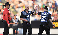 Seth Rance and Ben Wheeler celebrate the wicket of Shehzad.<br /> Pakistan tour of New Zealand. T20 Series.2nd Twenty20 international cricket match, Eden Park, Auckland, New Zealand. Thursday 25 January 2018. &copy; Copyright Photo: Andrew Cornaga / www.Photosport.nz