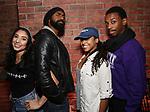 Lauren Boyd, Nik Walker, Sasha Hollinger and Tyler McKenzie backstage during the #EduHam at the Richard Rodgers Theatre on November 15, 2017 in New York City.
