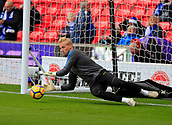 4th November 2017, bet365 Stadium, Stoke-on-Trent, England; EPL Premier League football, Stoke City versus Leicester City; Kasper Schmeichel of Leicester City goes through his pre-match routine