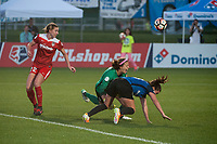 Kansas City, MO - Saturday May 27, 2017: Alyssa Kleiner, Stephanie Labbé, Alexa Newfield during a regular season National Women's Soccer League (NWSL) match between FC Kansas City and the Washington Spirit at Children's Mercy Victory Field.