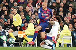 Real Madrid's Marcelo Vieira (r) and FC Barcelona's Martin Braithwaite during La Liga match. March 1,2020. (ALTERPHOTOS/Acero)