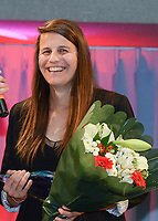 20180603 – OOSTENDE , BELGIUM : Laura De Neve , winner of the trophee Best Belgian Female Player pictured during the 4th edition of the Sparkle award ceremony , Sunday 3 June 2018 , in Oostende . The Sparkle  is an award for the best female soccer player during the season 2017-2018 comparable to the Golden Shoe or Boot / Gouden Schoen / Soulier D'or for Men in Belgium . PHOTO SPORTPIX.BE / DIRK VUYLSTEKE
