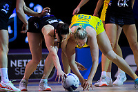 Karin Burger and Caitlin Thwaites compete for the ball during the Constellation Cup Netball Series match between the New Zealand Silver Ferns and Australia Diamonds at Horncastle Arena in Christchurch, New Zealand on Sunday, 13 October 2019. Photo: Dave Lintott / lintottphoto.co.nz