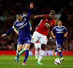 Paul Pogba of Manchester United and Sofiane Hanni of Anderlecht during the UEFA Europa League Quarter Final 2nd Leg match at Old Trafford, Manchester. Picture date: April 20th, 2017. Pic credit should read: Matt McNulty/Sportimage