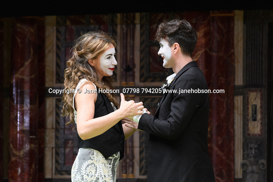 "London, UK. 26.04.17 Shakespeare's Globe presents ROMEO AND JULIET, by WIlliam Shakespeare, directed by Daniel Kramer, as part of Emma Rice's ""Summer of Love"" season. Picture shows: Kirsty Bushell (Juliet) and Edward Hogg (Romeo). © Jane Hobson."