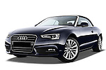 Low aggressive front three quarter view of a 2013 Audi A5 Convertible with the top up...