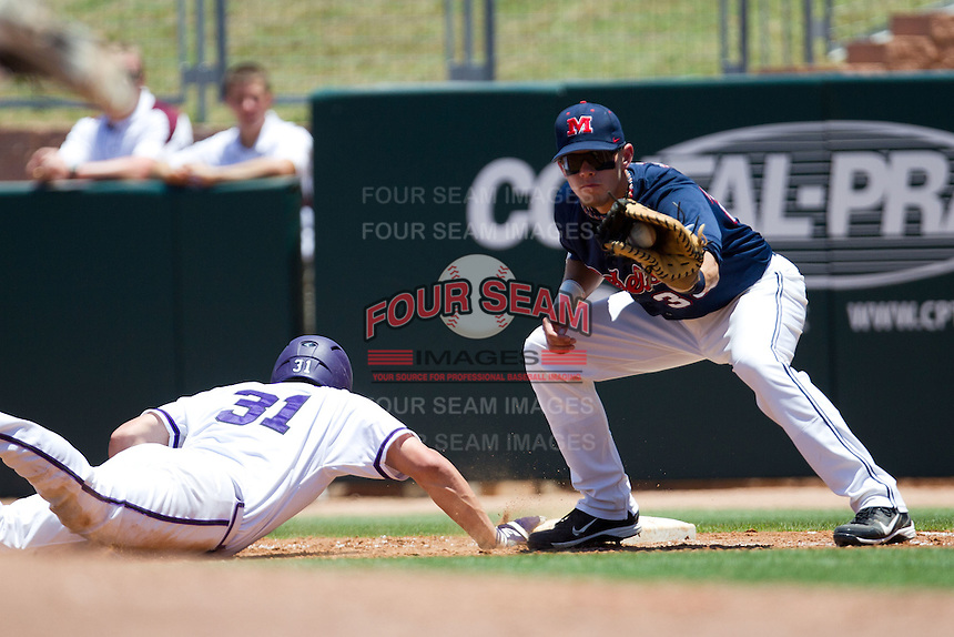 First baseman Matt Snyder #33 of the Ole Miss Rebels catches a pick off attempt during the NCAA Regional baseball game against the Texas Christian University Horned Frogs on June 1, 2012 at Blue Bell Park in College Station, Texas. Ole Miss defeated TCU 6-2. (Andrew Woolley/Four Seam Images).