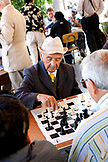 CHILE, Santiago, Elderly Men playing Chess on a local square of Santiago