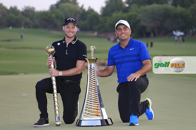 Danny Willett (ENG) winner of the DP World Tour Championship and Francesco Molinari (ITA) winner of the Race to Dubai, Jumeirah Golf Estates, Dubai, United Arab Emirates. 18/11/2018<br /> Picture: Golffile | Fran Caffrey<br /> <br /> <br /> All photo usage must carry mandatory copyright credit (&copy; Golffile | Fran Caffrey)