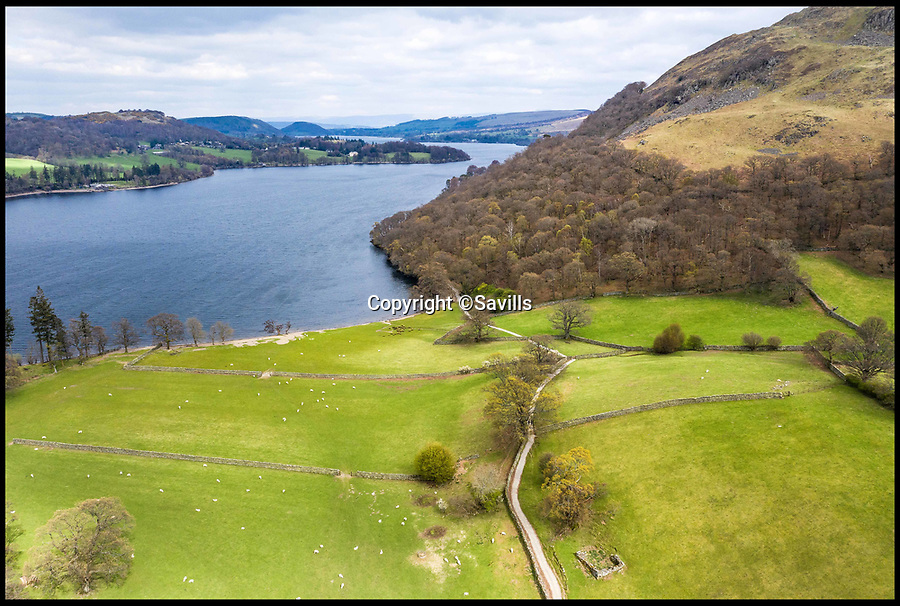 BNPS.co.uk (01202)558833<br /> Pic:    Savills/BNPS<br /> <br /> Aerial view of the land and Ullswater.<br /> <br /> A country estate that has its own farm, tea rooms and glamping business in the heart of the Lake District has gone on market for those looking to escape the rat race.<br /> <br /> Backside Farm sits on the banks of Ullswater - the second largest lake in the Cumbrian National Park - and has one mile of water access as well as stunning views of the mountains. <br /> <br /> The outgoing owners have been on the 195 acre estate for over a decade and in that time they have renovated the large five bedroom farmhouse.<br /> <br /> They also set up the tea rooms and two holiday rental cabins and have established them as a business.