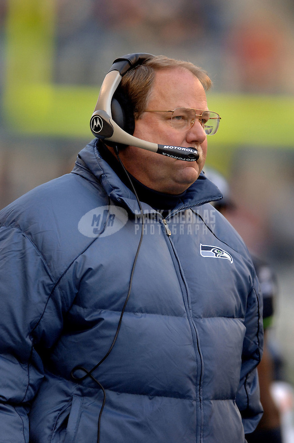 Dec. 11, 2005; Seattle, Wash, USA;  Seattle Seahawks head coach Mike Holmgren on the sidelines during the game against the San Francisco 49ers in the third quarter at Qwest Field. Mandatory Credit: Photo By Mark J. Rebilas.