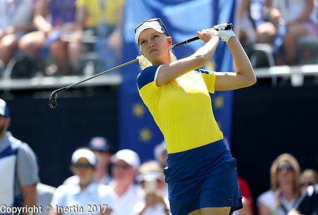 DES MOINES, IA - AUGUST 19: Europe's Madelene Sagstrom watches her tee shot on the 1st hole of their afternoon four-ball match Saturday at the 2017 Solheim Cup in Des Moines, IA. (Photo by Dave Eggen/Inertia)
