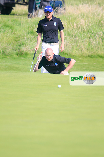 Matt Clarke (SCO) and Barry Hume (SCO) during the Home Internationals day 2 foursomes matches supported by Fairstone Financial Management Ltd. at Royal Portrush Golf Club, Portrush, Co.Antrim, Ireland.  13/08/2015.<br /> Picture: Golffile | Fran Caffrey<br /> <br /> <br /> All photo usage must carry mandatory copyright credit (&copy; Golffile | Fran Caffrey)