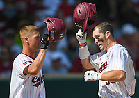 NWA Democrat-Gazette/CHARLIE KAIJO South Carolina catcher Hunter Taylor (38) reacts after a score during the second game of the NCAA super regional baseball, Sunday, June 10, 2018 at Baum Stadium in Fayetteville. Arkansas fell to South Carolina 5-8.