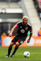 Nick DeLeon (18) of D. C. United. The New York Red Bulls and D. C. United played to a 0-0 tie during a Major League Soccer (MLS) match at Red Bull Arena in Harrison, NJ, on March 16, 2013.