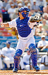 6 March 2006: Russell Martin, catcher for the Los Angeles Dodgers, during a Spring Training game against the Washington Nationals. The Nationals and Dodgers played to a scoreless tie at Holeman Stadium, in Vero Beach Florida...Mandatory Photo Credit: Ed Wolfstein..