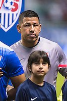 United States' goalkeeper Nick Rimando (1) during the singing of national anthem before an international friendly at the Alamodome, Wednesday, April 15, 2015 in San Antonio, Tex. (Mo Khursheed/TFV Media via AP Images)