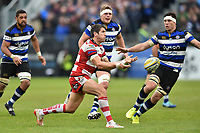 James Hook of Gloucester Rugby passes the ball. Aviva Premiership match, between Bath Rugby and Gloucester Rugby on April 30, 2017 at the Recreation Ground in Bath, England. Photo by: Patrick Khachfe / Onside Images