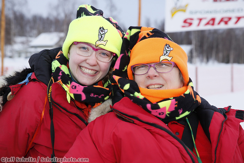 Volunteers at the start of the 2013 Junior Iditarod start on Knik Lake.  Knik Alaska..Photo by Jeff Schultz/IditarodPhotos.com   Reproduction prohibited without written permission