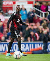 Paul Pogba of Man Utd during pre match warm ups during the Premier League match between Stoke City and Manchester United at the Britannia Stadium, Stoke-on-Trent, England on 9 September 2017. Photo by Andy Rowland.