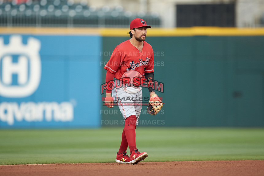 Louisville Bats second baseman Alex Blandino (2) on defense against the Charlotte Hornets at BB&T BallPark on June 22, 2019 in Charlotte, North Carolina. The Hornets defeated the Bats 7-6. (Brian Westerholt/Four Seam Images)