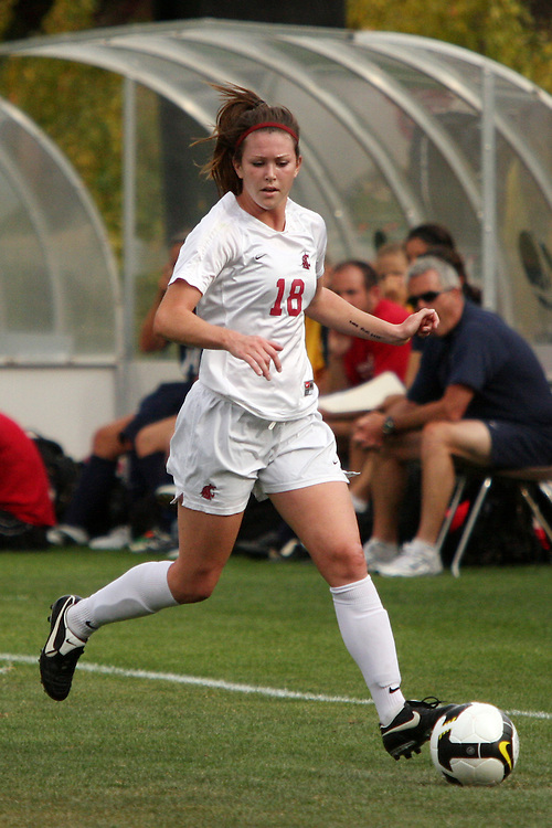 Caitlin Bonney (#18) in action during the Washington State Cougars non-conference soccer match with Gonzaga Bulldogs in Pullman, Washington, on September 26, 2008.  The Cougars prevailed in the contest, 1-0.