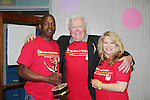 Jerry ver Dorn holds his Daytime Emmy with Vernell and Suzette - 13th Annual Daytime Stars and Strikes Bowling for Autism on April 23, 2016 at Bowler City Lanes in Hackensack, NJ hosted by Jerry ver Dorn and Liz Keifer  (Photo by Sue Coflin/Max Photos)